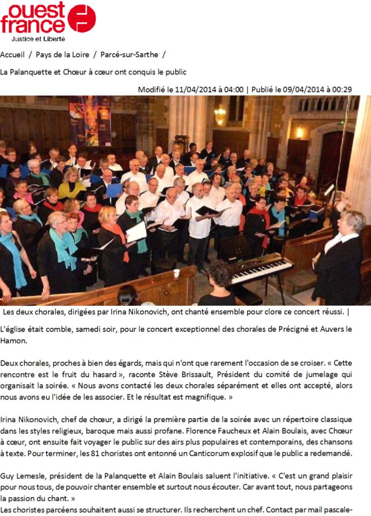 ouest france du 09 04 2014